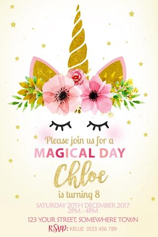Unicorn magical floral rainbow girls birthday party invitation