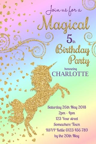 Unicorn magical glitter rainbow girls birthday party invitation