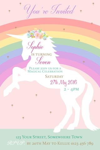 girls birthday rainbow unicorn party invitation and invite