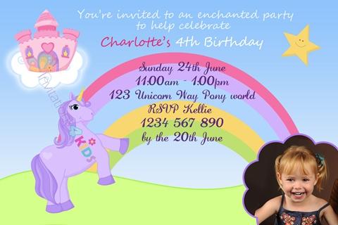 girls Personalised Unicorn rainbow castle birthday party invitations