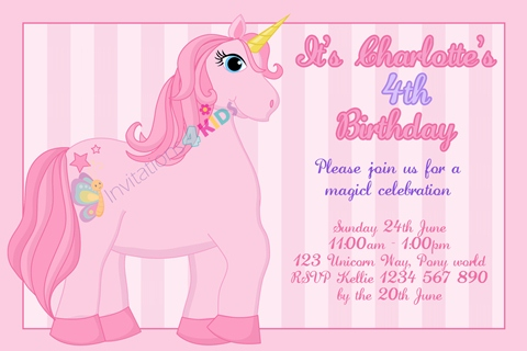 girls pink Personalised Unicorn birthday party invitations