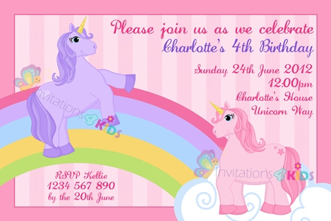 girls Personalised Unicorn rainbow birthday party invitations