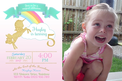 girls rainbow glitter unicorn invite