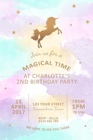watercolour Unicorn invitation