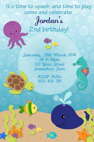 under the sea whale fish boys invitation