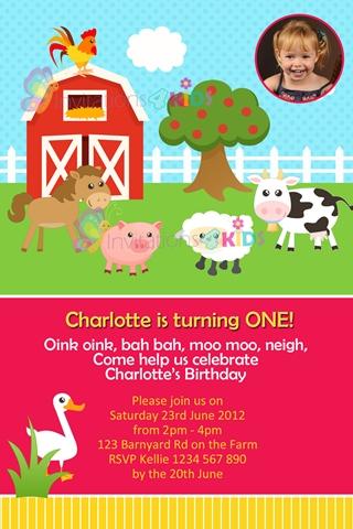 girls farmyard and barnyard animals personalised birthday party invitations