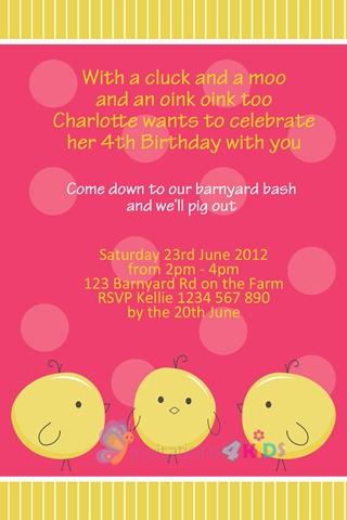 girls little chicken Farm Animals birthday party invitation