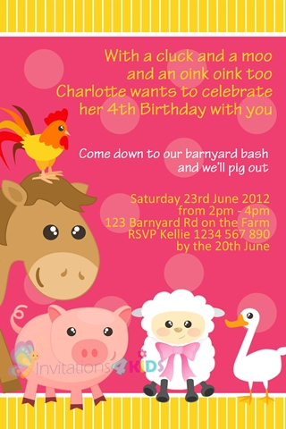 girl pink farmyard and barnyard animals personalised 1st first birthday party invitations