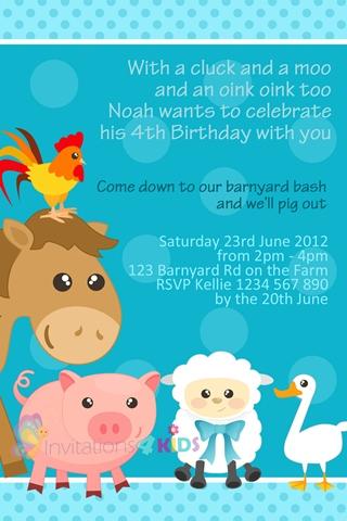 boys blue farmyard and barnyard animals personalised 1st first birthday party invitations