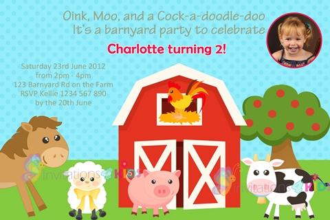 farmyard and barnyard animals personalised birthday party invitations