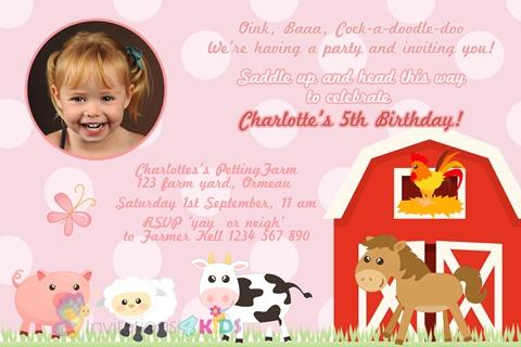 girls pink Personalised farm animals birthday party invitation