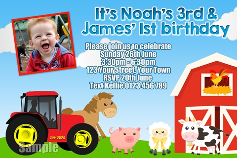 Farm Animals and Tractor birthday party invitation
