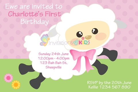 girls pink Personalised 1st first birthday party pink cute sheep invitations