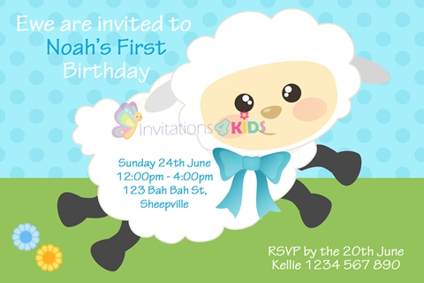 boys blue Personalised 1st first birthday party cute sheep invitations