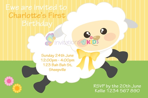 Personalised birthday party cute sheep first 1st girls birthday party invitations