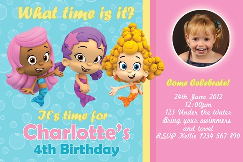 girls personalised bubble guppies birthday party invitations