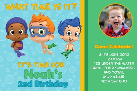 boys personalised bubble guppies birthday party invitations