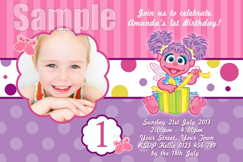 girls pink purple Abbey Cadaby personalised invitation
