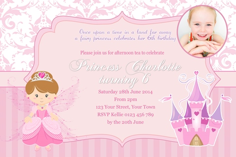 girls Fairy Princess castle birthday party invitation