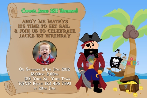 Pirate treasure personalised birthday party invitation