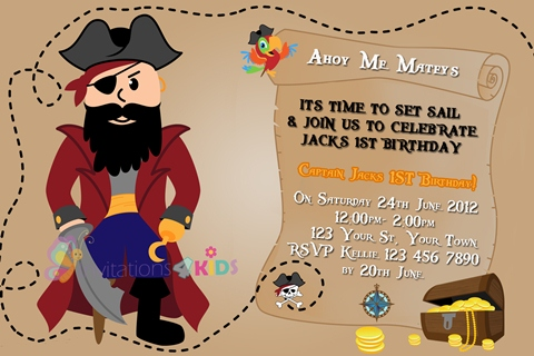 Pirate map personalised birthday party invitation
