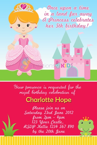 girls Princess castle pink frog personalised birthday party invitation