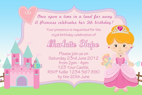 Princess personalised birthday party invitation