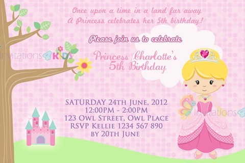 girls pink castle Princess personalised birthday party invitation