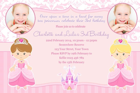Twin Princess castle girls pink birthday invitation
