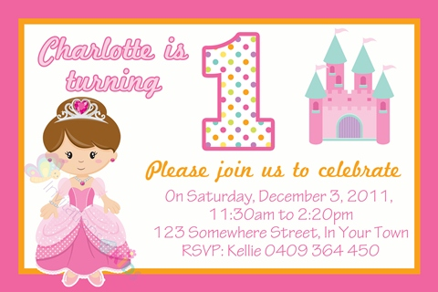 Princess personalised 1st birthday party invitation
