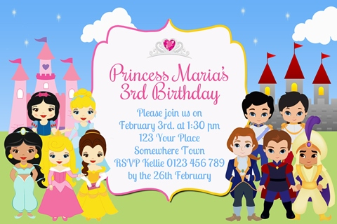 Boys girls Princess and Princes birthday party invite