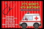 Ambulance and medical birthday invitations