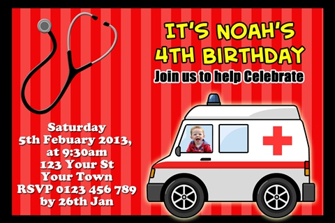 red Ambulance and medical emergency birthday invitations