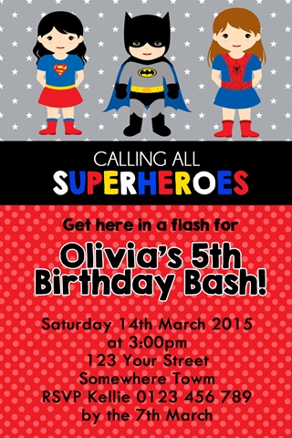 girls Super hero supergirl spider girl bat girl personalised photo bithday party invitations