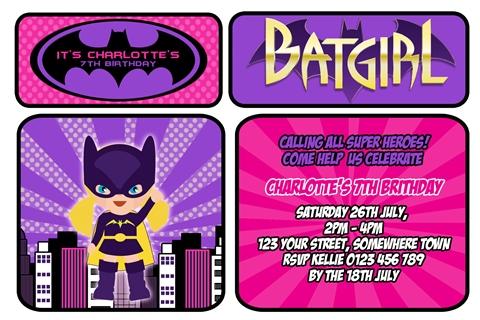 Super hero girls batman personalised photo birthday party invitations