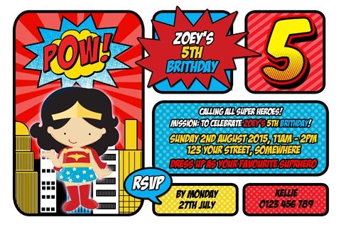 super hero girl wonder women invitation