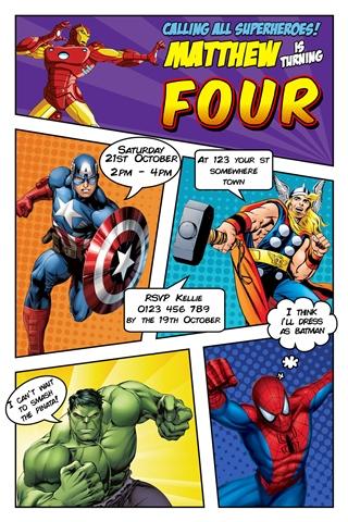 Superhero marvel comic invitation invite