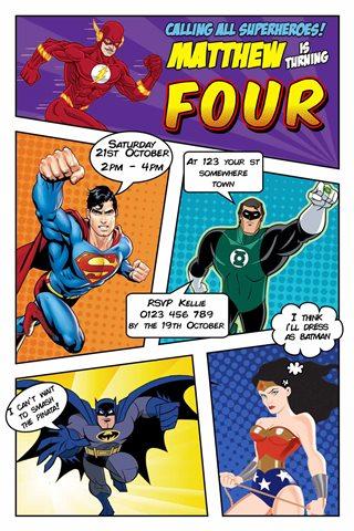 Superhero dc comics invitation invite
