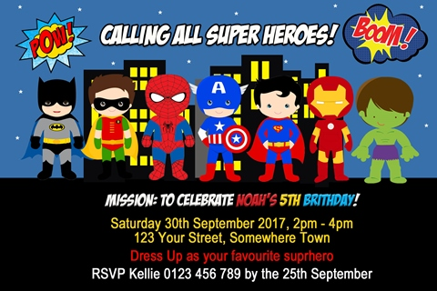 boys superheroes birthday party invitation and invite