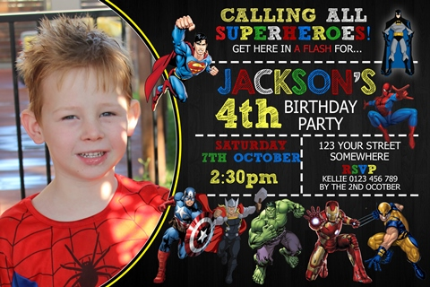 boys superheroes birthday party invitation and invite with photo