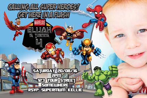 Superhero marvel invitation invite