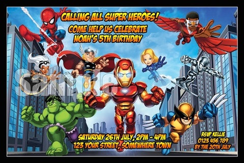 Super hero squad avengers personalised photo bithday party invitations