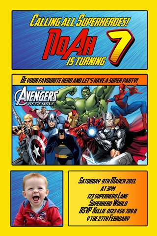 Super hero personalised photo avengers bithday party invitations