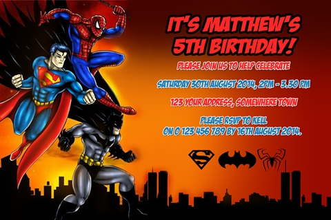 Super hero personalised photo bithday party invitations spiderman batman and superman