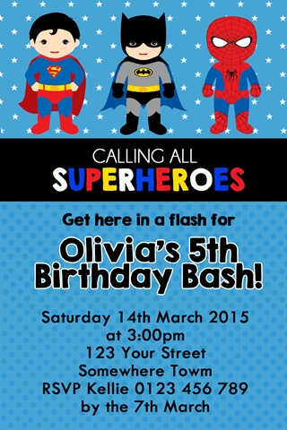 boys Super hero spiderman superman and batman personalised photo birthday party invitations