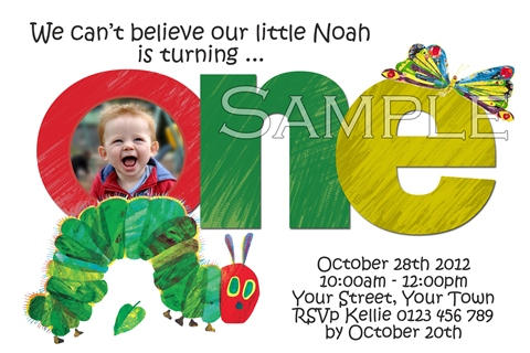 The very hungry caterpillar first birthday 1st one birthday party invitation