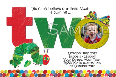 The very hungry caterpillar 2nd birthday party two invitation