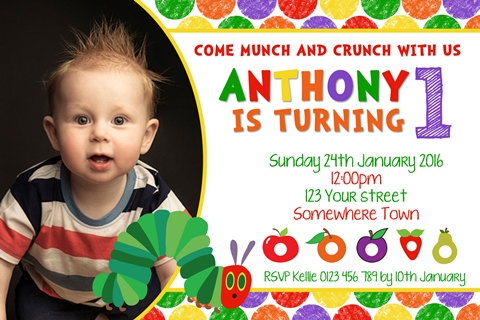 The very hungry caterpillar personalised birthday party invitations with photo