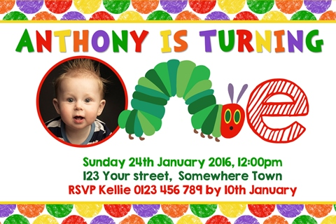 The very hungry caterpillar personalised birthday party invitations