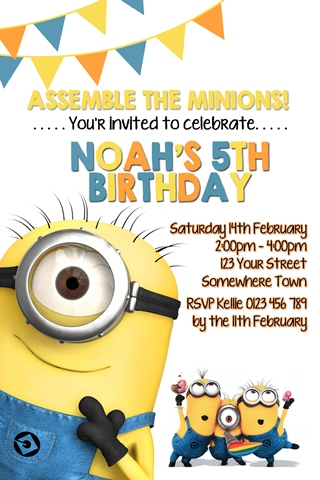 Minions birthday party invitation